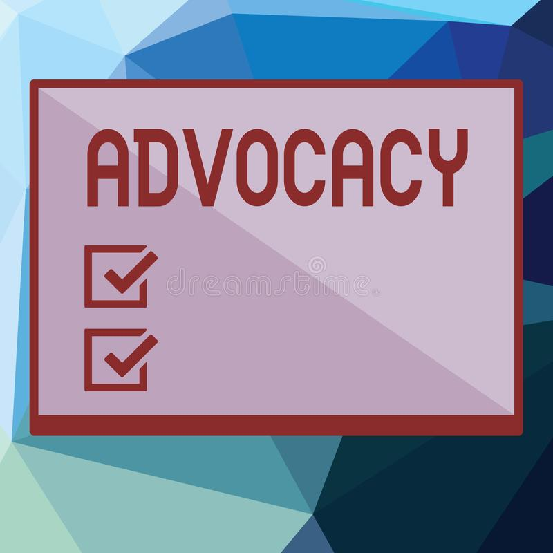 Writing note showing Advocacy. Business photo showcasing Profession of legal advocate Lawyer work Public recommendation.  vector illustration