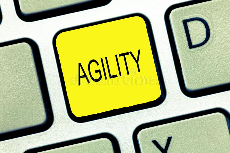 Writing note showing Agility. Business photo showcasing Ability to move think understand quickly and easily Fast development.  royalty free stock photos