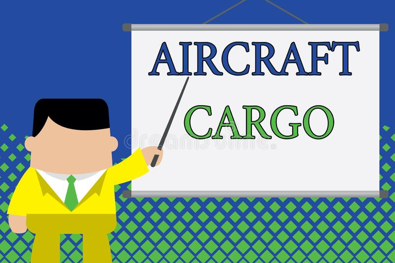 Writing note showing Aircraft Cargo. Business photo showcasing Freight Carrier Airmail Transport goods through airplane. Writing note showing Aircraft Cargo vector illustration