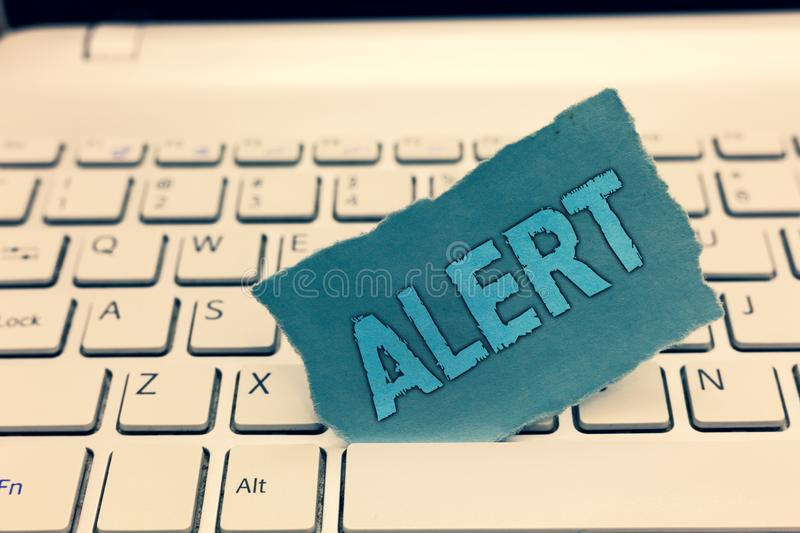 Writing note showing Alert. Business photo showcasing An announcement Signal warning of danger The state of being. Vigilant stock photography