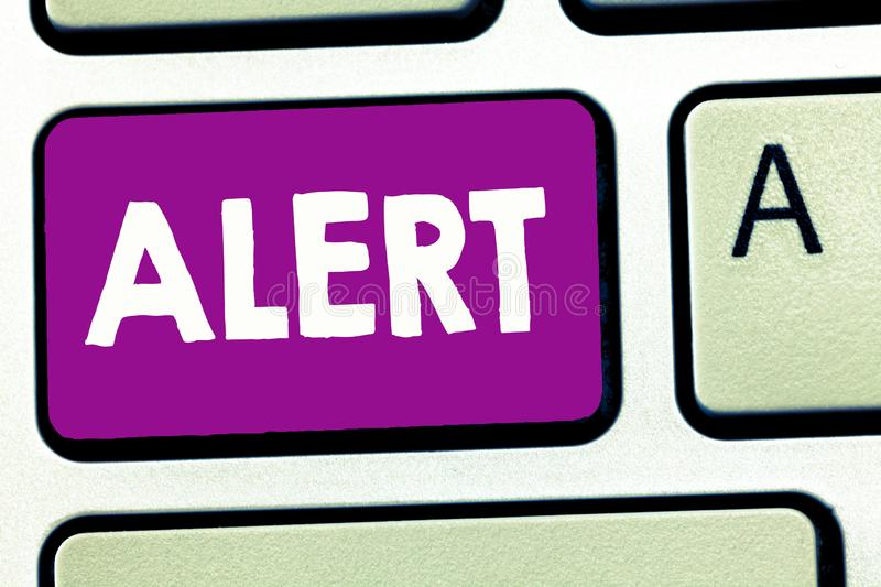 Writing note showing Alert. Business photo showcasing An announcement Signal warning of danger The state of being. Vigilant stock photos