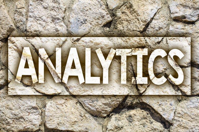 Writing note showing Analytics. Business photo showcasing Data Analysis Financial Information Statistics Report Dashboard Ideas m. Essage stone stones rock rocks royalty free stock image