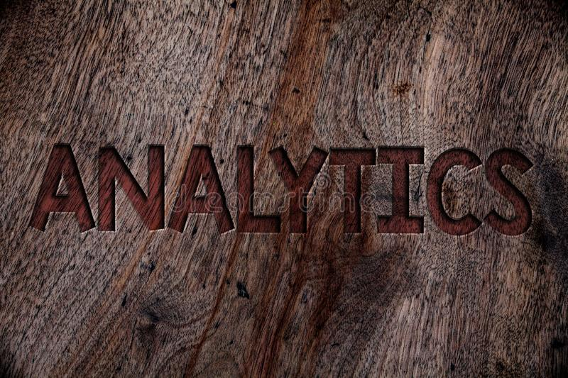 Writing note showing Analytics. Business photo showcasing Data Analysis Financial Information Statistics Report Dashboard Wooden. Background vintage wood board royalty free stock images