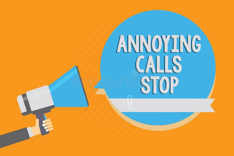 Writing note showing Annoying Calls Stop. Business photo showcasing Prevent spam phones Blacklisting numbers Angry caller Alarming. Speaker signal warning vector illustration