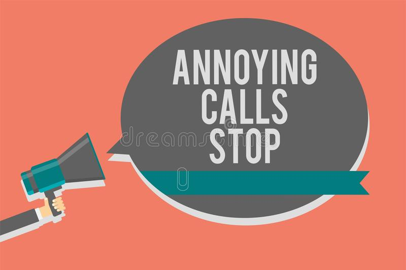 Writing note showing Annoying Calls Stop. Business photo showcasing Prevent spam phones Blacklisting numbers Angry caller Symbols. Speaker alarming warning royalty free illustration