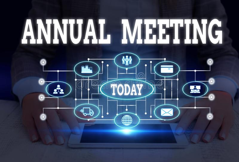 Writing note showing Annual Meeting. Business photo showcasing yearly meeting of the general membership of an. Writing note showing Annual Meeting. Business royalty free stock image