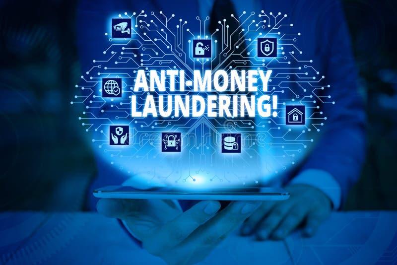 Writing note showing Anti Money Laundering. Business photo showcasing regulations stop generating income through illegal. Writing note showing Anti Money stock photo