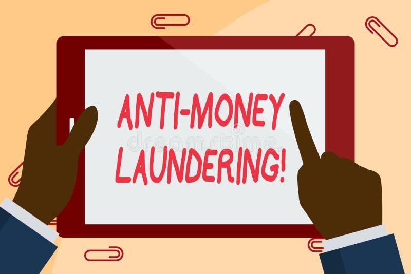 Writing note showing Anti Money Laundering. Business photo showcasing regulations stop generating income through illegal. Writing note showing Anti Money vector illustration