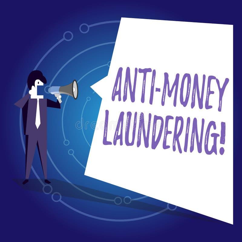 Writing note showing Anti Money Laundering. Business photo showcasing regulations stop generating income through illegal. Writing note showing Anti Money royalty free illustration