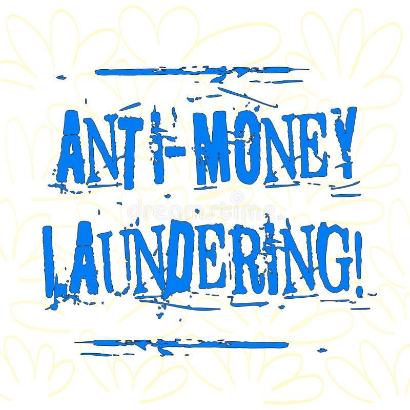 Writing note showing Anti Money Laundering. Business photo showcasing regulations stop generating income through illegal. Writing note showing Anti Money stock illustration