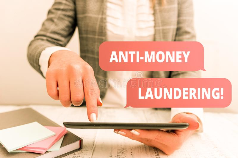 Writing note showing Anti Money Laundering. Business photo showcasing regulations stop generating income through illegal. Writing note showing Anti Money stock images