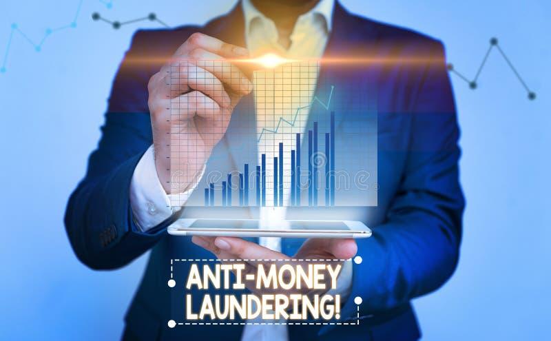Writing note showing Anti Money Laundering. Business photo showcasing regulations stop generating income through illegal. Writing note showing Anti Money royalty free stock image