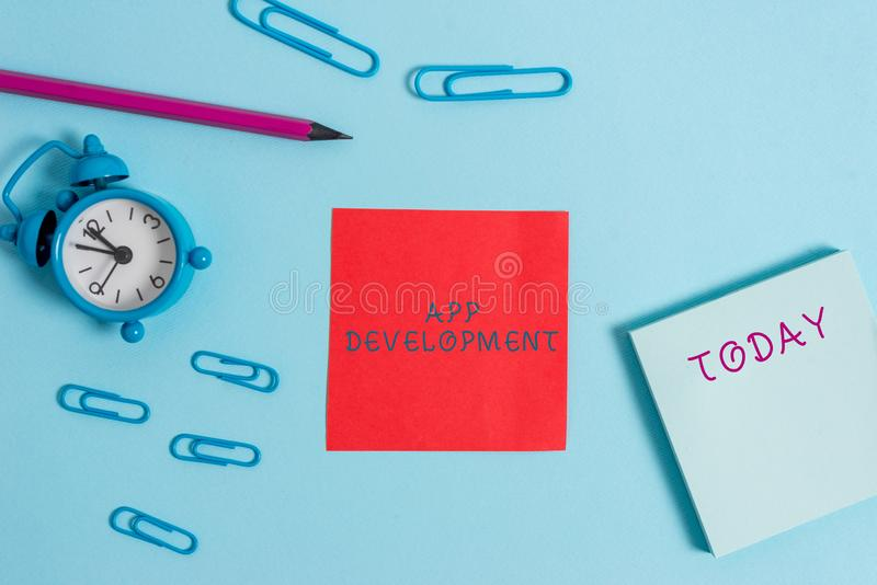 Writing note showing App Development. Business photo showcasing Development services for awesome mobile and web. Writing note showing App Development. Business royalty free stock photos