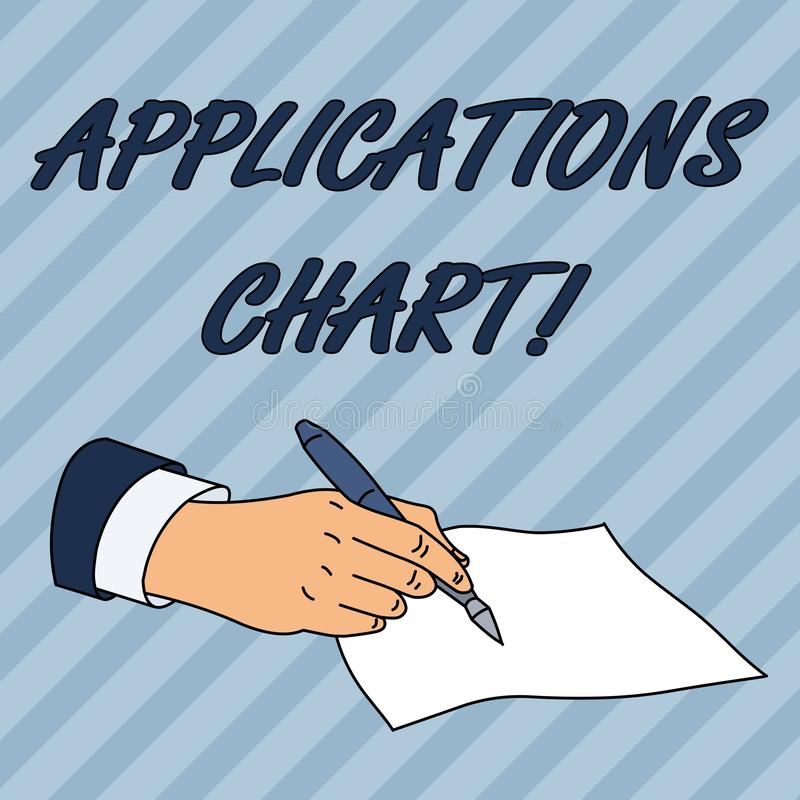 Writing note showing Applications Chart. Business photo showcasing graph used to study how a process changes over time. Writing note showing Applications Chart vector illustration