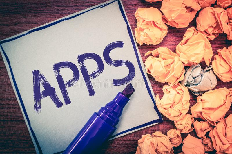 Writing note showing Apps. Business photo showcasing An application especially as downloaded by a user to a mobile. Device royalty free stock image