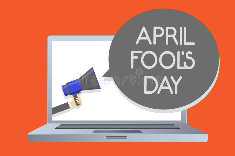 Writing note showing April Fool s is Day. Business photo showcasing Practical jokes humor pranks Celebration funny foolish Network royalty free illustration