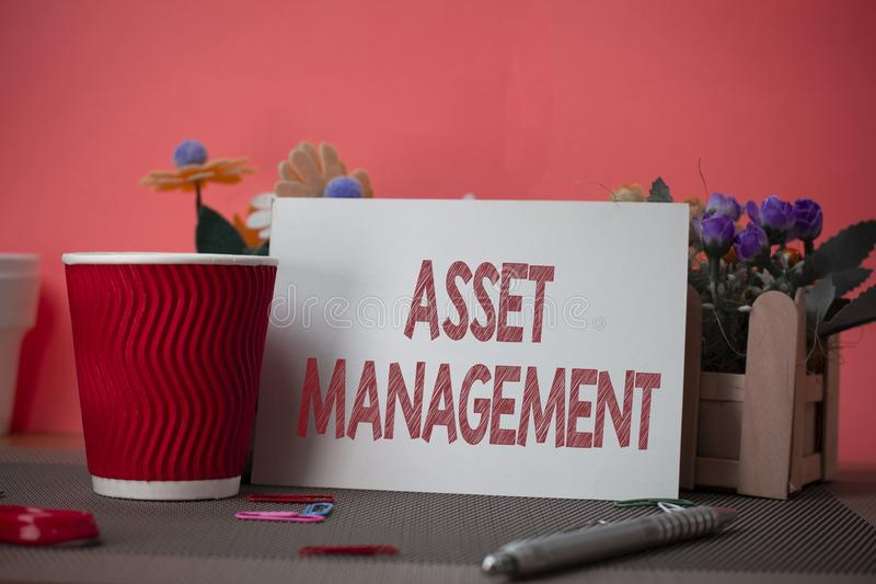 Writing note showing Asset Management. Business photo showcasing systematic process of operating and disposing of assets. Writing note showing Asset Management stock images