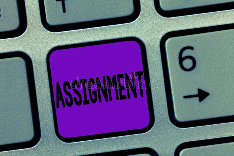 Writing note showing Assignment. Business photo showcasing Task Particular job assigned to someone as part of work study.  stock photos