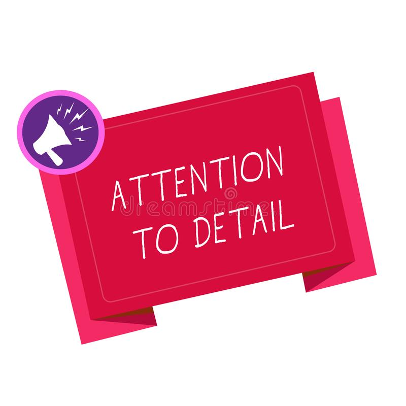 Writing note showing Attention To Detail. Business photo showcasing Achieve Thoroughness and Accuracy Exactly Aware.  vector illustration
