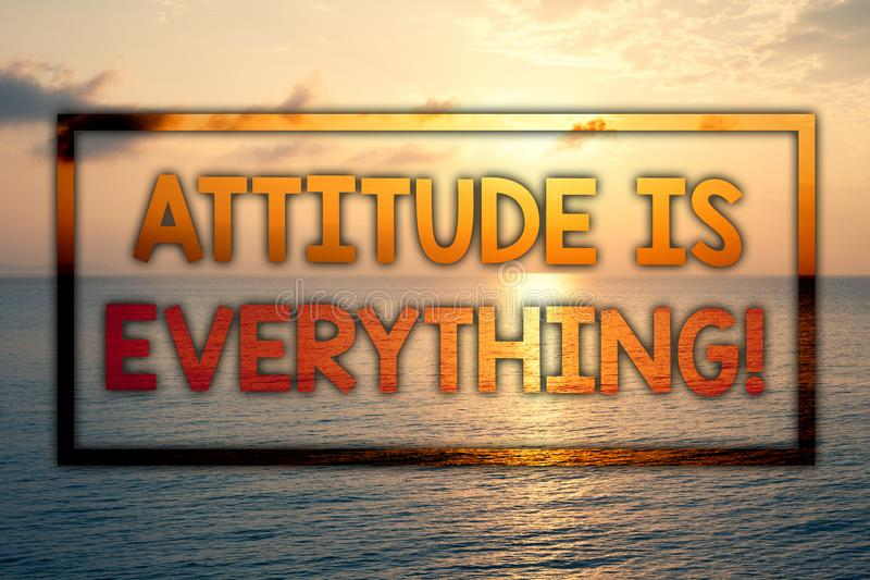 Writing note showing Attitude Is Everything. Business photo showcasing Personal Outlook Perspective Orientation Behavior Sunset b. Lue beach cloudy sky ideas royalty free stock image