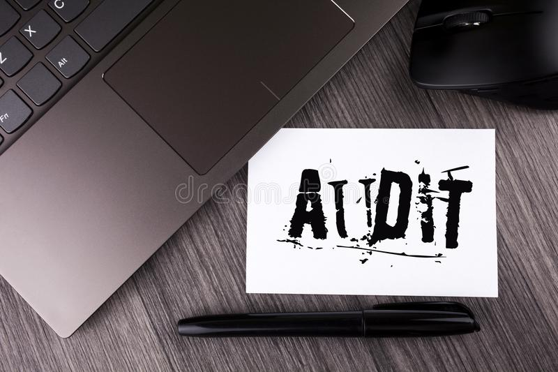 Writing note showing Audit. Business photo showcasing Local company auditors perform their financial investigation annually writt. En Sticky Note Paper the royalty free stock photos