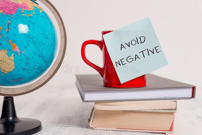 Writing note showing Avoid Negative. Business photo showcasing Staying away from pessimistic showing Suspicious. Writing note showing Avoid Negative. Business stock image