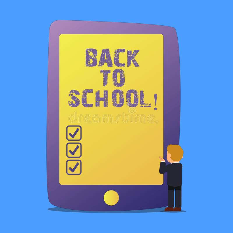 Writing note showing Back To School. Business photo showcasing New Teachers Friends Books Uniforms Promotion Tuition Fee.  vector illustration