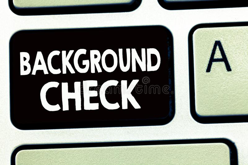Writing note showing Background Check. Business photo showcasing way to discover issues that could affect your business.  royalty free stock photography