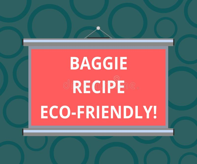 Writing note showing Baggie Recipe Eco Friendly. Business photo showcasing shopping bag which can be reused analysisy times stock illustration