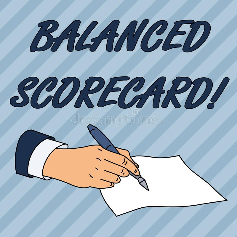 Writing note showing Balanced Scorecard. Business photo showcasing a perforanalysisce metric used in strategic. Writing note showing Balanced Scorecard. Business stock illustration