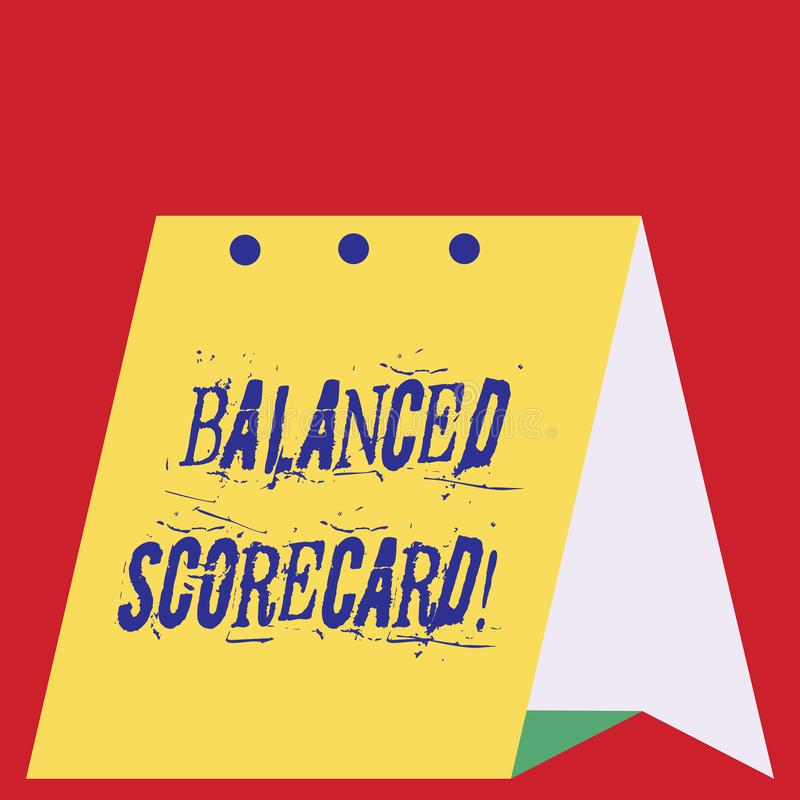 Writing note showing Balanced Scorecard. Business photo showcasing a perforanalysisce metric used in strategic. Writing note showing Balanced Scorecard. Business vector illustration