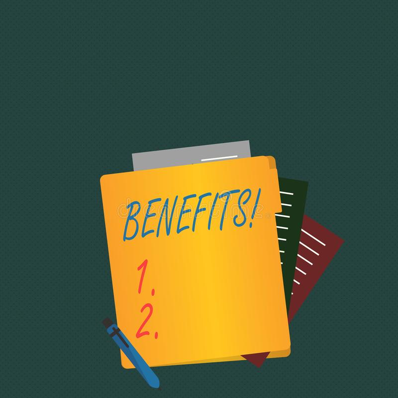 Writing note showing Benefits. Business photo showcasing Advantage Insurance Compensation Interest Revenue Gain Aid. Writing note showing Benefits. Business stock illustration