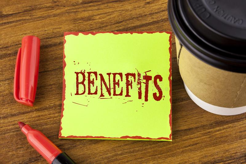 Writing note showing Benefits. Business photo showcasing hike in allowance for senior employees of the company written on Sticky. Writing note showing Benefits royalty free stock photos