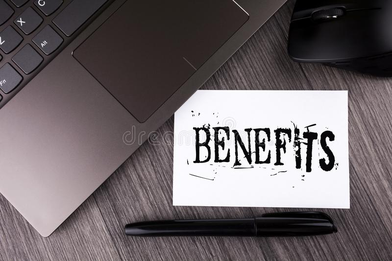 Writing note showing Benefits. Business photo showcasing hike in allowance for senior employees of the company written on Sticky. Writing note showing Benefits stock photo