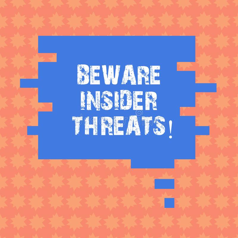 Writing note showing Beware Insider Threats. Business photo showcasing Be cautious on malicious attack inside the network Speech. Bubble in Puzzle Piece Shape vector illustration