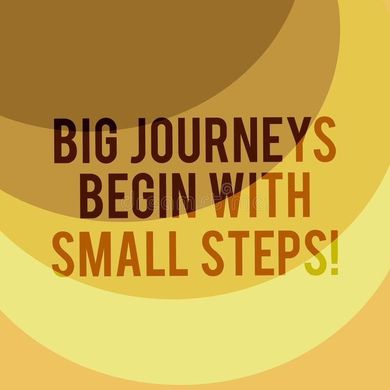 Writing note showing Big Journeys Begin With Small Steps. Business photo showcasing One step at a time to reach your. Goals Layered Arc MultiTone Copy Space for stock illustration