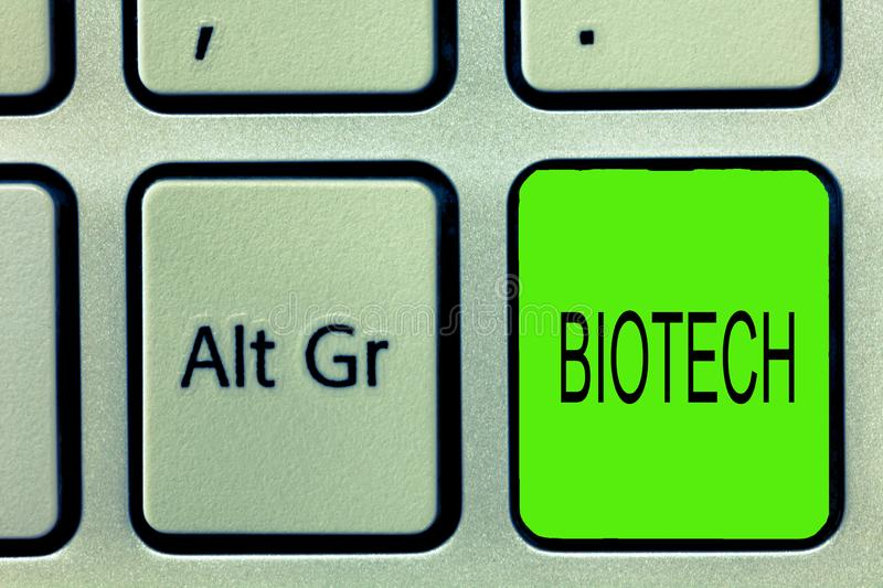 Writing note showing Biotech. Business photo showcasing Study Analysis biological processes Genetic manipulation Science.  royalty free stock photography
