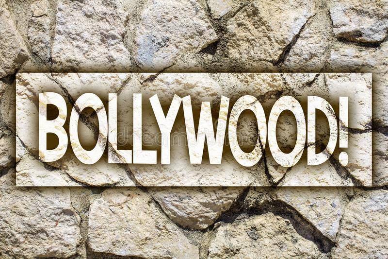 Writing note showing Bollywood Motivational Call. Business photo showcasing Hollywood Movie Film Entertainment Cinema Ideas messa. Ge stone stones rock rocks royalty free stock image