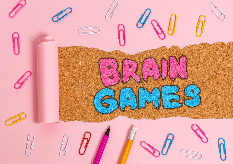 Writing note showing Brain Games. Business photo showcasing psychological tactic to analysisipulate or intimidate with. Writing note showing Brain Games stock photos