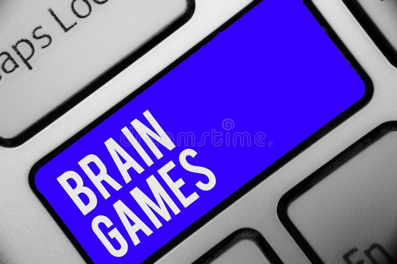 Writing note showing Brain Games. Business photo showcasing psychological tactic to manipulate or intimidate with opponent Keyboar. D blue key Intention computer stock image