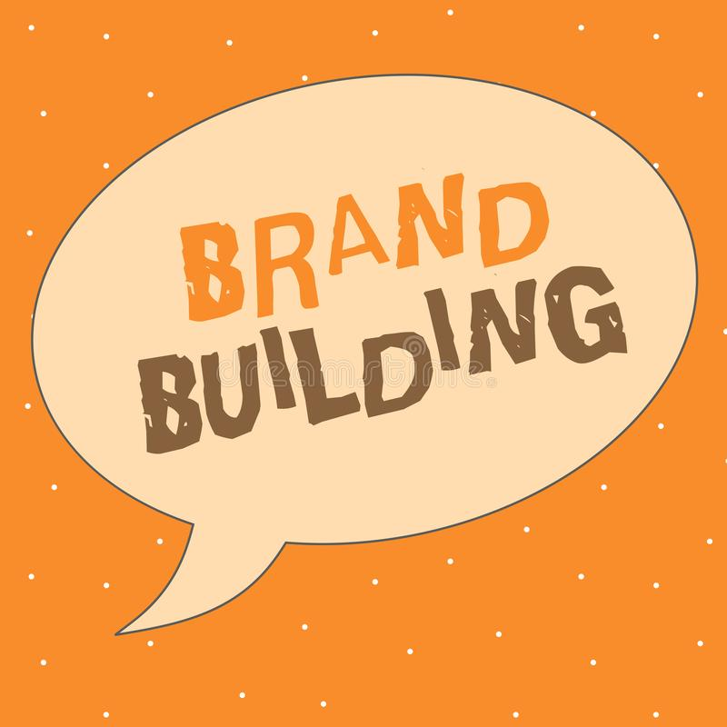 Writing note showing Brand Building. Business photo showcasing Generating awareness Establishing and promoting company.  royalty free illustration