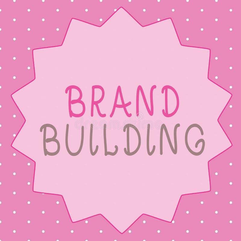 Writing note showing Brand Building. Business photo showcasing Generating awareness Establishing and promoting company.  stock illustration