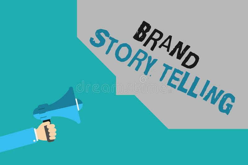 Writing note showing Brand Story Telling. Business photo showcasing Breathing Life into a Brandan Engaging Content.  stock illustration