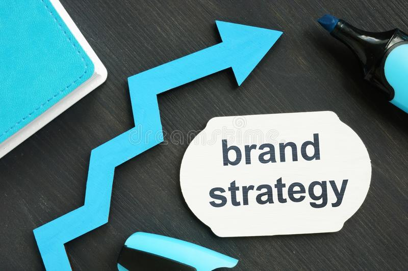 Writing note showing brand strategy. The text is written on a small blue wooden board. Diagram, marker, wooden background are on royalty free stock images