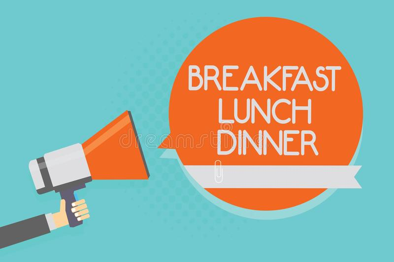 Writing note showing Breakfast Lunch Dinner. Business photo showcasing eating your meals at different period of day Attention warn. Ing hot social issue stock illustration