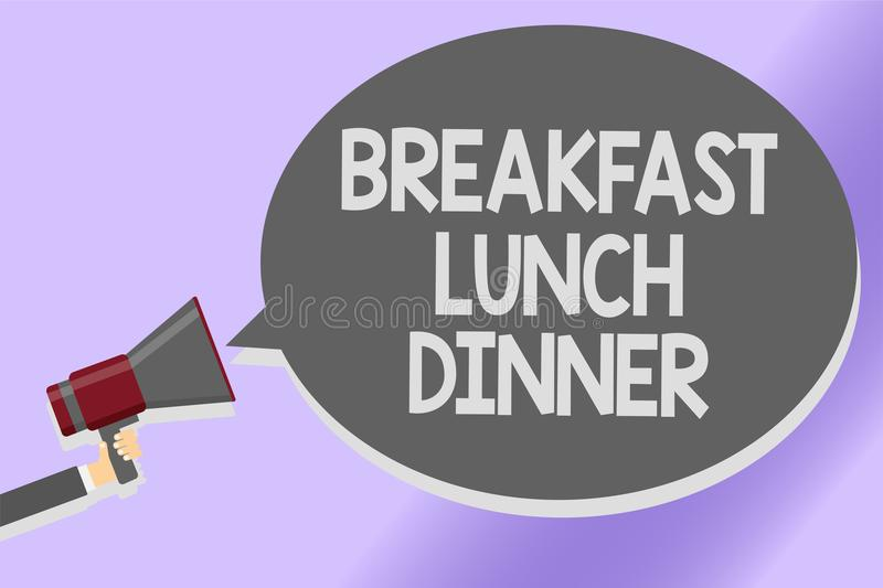 Writing note showing Breakfast Lunch Dinner. Business photo showcasing eating your meals at different period of day Sound speaker. Announcement declare lines vector illustration