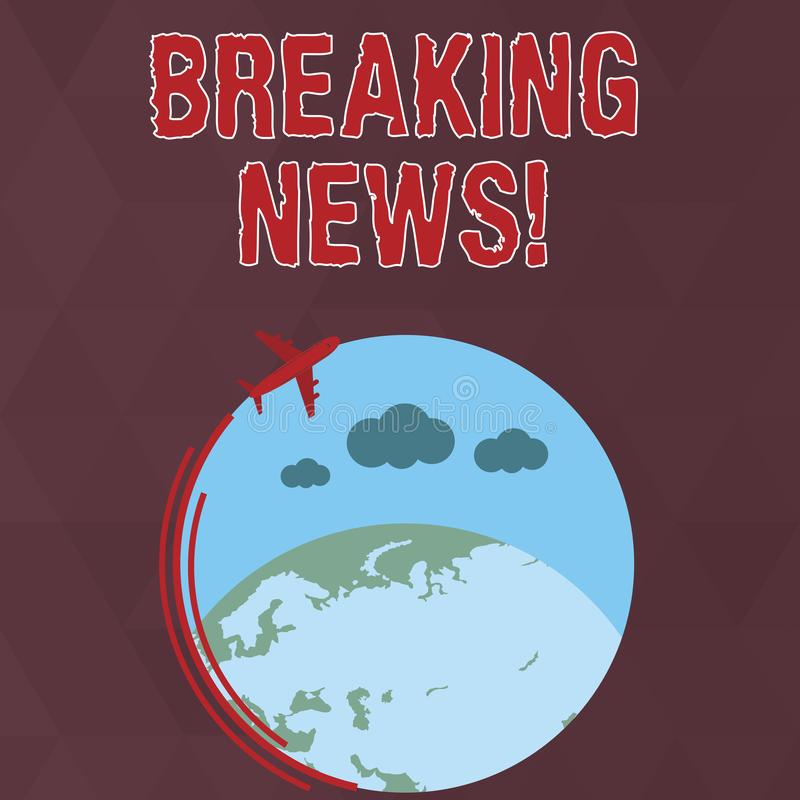 Writing note showing Breaking News. Business photo showcasing Newly received info about an event and currently occurring. Writing note showing Breaking News stock illustration