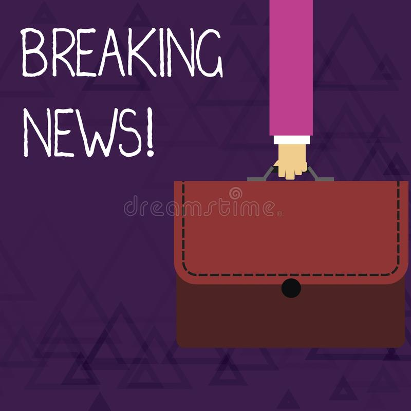 Writing note showing Breaking News. Business photo showcasing Newly received info about an event and currently occurring. Writing note showing Breaking News royalty free illustration