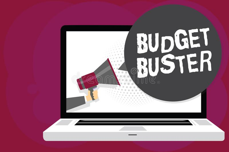 Writing note showing Budget Buster. Business photo showcasing Carefree Spending Bargains Unnecessary Purchases Overspending Man ho. Lding Megaphone computer royalty free illustration