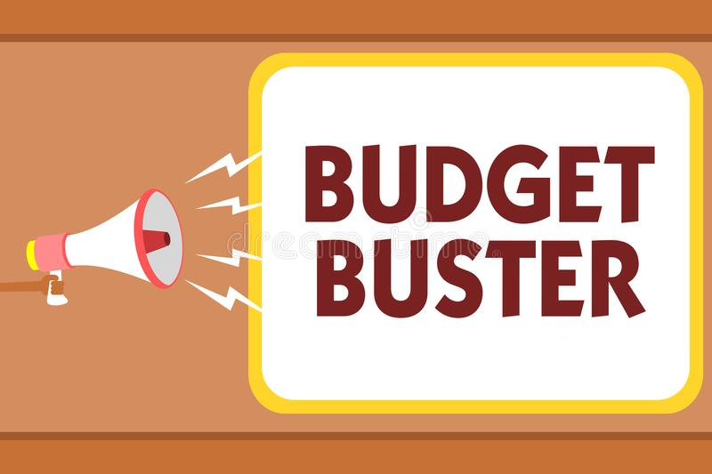 Writing note showing Budget Buster. Business photo showcasing Carefree Spending Bargains Unnecessary Purchases Overspending Man ho. Lding megaphone loudspeaker royalty free illustration